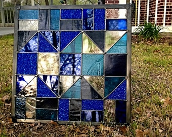Large Square colors quilt pattern Stained Glass