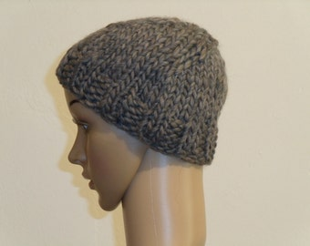 Knitted light grey wool hat