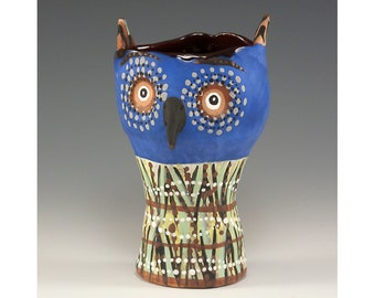 Wise Guy - Two Faced Owl Ceramic Tumbler by Jenny Mendes