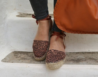 Espadrille Sandals. Leopard Print Espadrilles. Summer Leather and Fabric Shoes. Women's Sandals. Greek Sandals. Gift for Women
