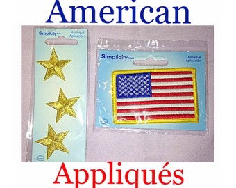 2 Packs of Simplicity Appliqués, American Flag and Gold Stars Appliqués / Iron On Patches
