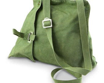 Vintage 1960s-1970s Swedish Army Canvas Satchel shoulder bag military carry all like new
