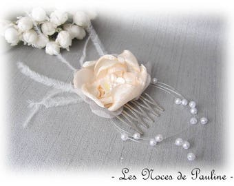 "Hair comb wedding peach white flower feather ""Les Textiles"" Camellia"