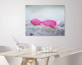 Pink Sunglasses Print   Glam Wall Art Beach Decor   Coastal Chic Beach Theme Home Decor   Coastal Decor Print   Large Home Decor Wall Art