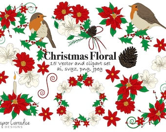 Christmas clipart, christmas flowers clipart, poinsettia clipart, christmas vectors, christmas graphics, robin clipart, Holiday clipart