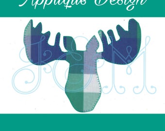 Moose Silhouette Blanket Stitch Vintage Style Applique Machine Embroidery Design