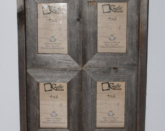 Rustic Barn Wood Window Frame (Holds 4-4x6 Pictures)