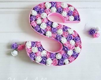 Custom floral letter, nursery decor, wedding decor, floral monogram letter,