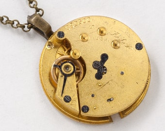 Steampunk Necklace Vintage Gold Pocket Watch Movement with Gears and Genuine Ruby Jewels Victorian Clockwork Pendant Statement Necklace 2860