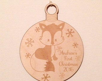 Christmas Ornament-Personalized Fox Wood Ornament