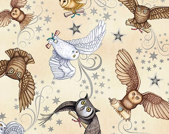 Spellbound Owl Fabric / Mystical Harry Potter Owls on Cream / Spellbound  Quilting Treasures 26612-E Fabric By The Yard & Fat Quarters