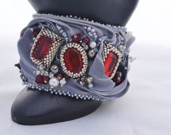 OOAK Hand Beaded Shibori Ribbon Swarovski Crystals and Pearls Beadwoven Bracelet Silver Gray Shibori Ribbon Birthday or Anniversary Gifts