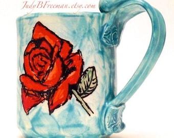 Roses Ceramic Mug Stoneware Floral 12 Ounce Cup MG0039