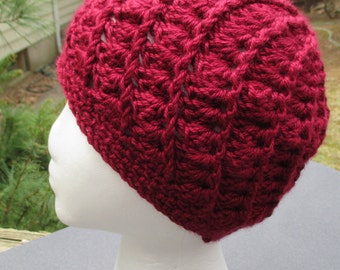 Crocheted Womans Hat - Spiral Patterned - Burgundy - Beanie, Cloche