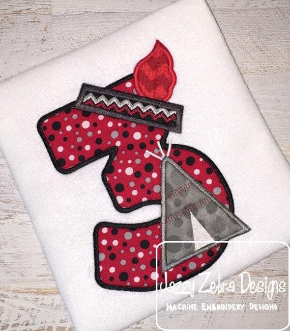 Teepee Three Appliqué Embroidery Design - 3rd birthday appliqué design - three year old - third birthday appliqué design - birthday appliqué