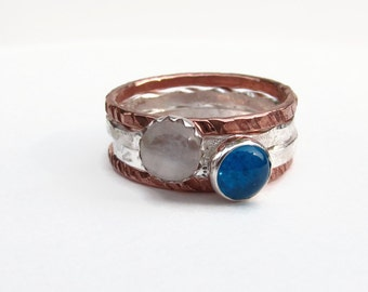 MOONstone ring,BLUE apatite ring,Copper Ring,boho stack ring,blue apatite,Mixed Metal Stack Ring,Boho ring,Rustic Ring,Hand stamp,Mom Ring