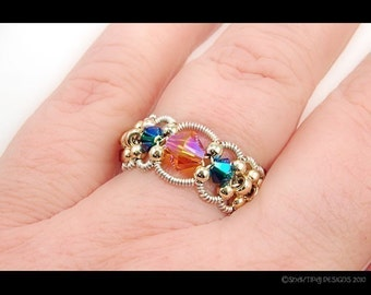 Chantilly Lace Silver Wire Lampwork and Beads Ring - Instant Download Wire Jewelry Tutorial Instruction