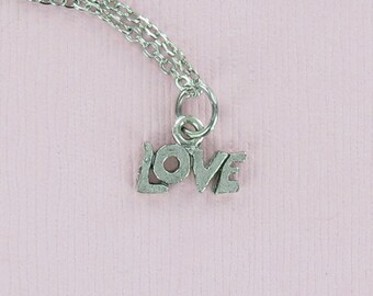LOVE Word Necklace - Tiny Pewter Charm on a FREE Plated Chain
