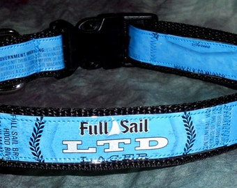 Adjustable Dog Collar from recycled Full Sail LTD Lager Beer Labels