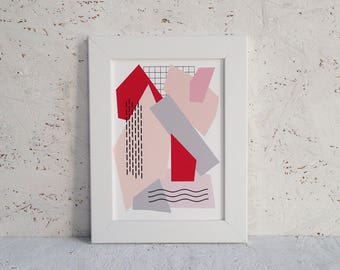 Abstract shapes A5 print | pink and red | giclee print | collage style art | fine art print | modern home decor