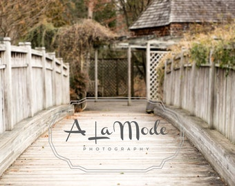 Wooden Bridge & Gazebo Digital Photography Background