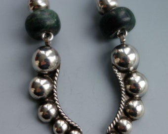 Mexican Jade Sterling Dome Earrings
