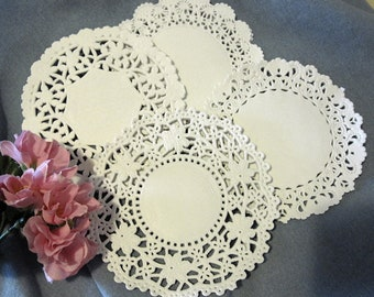 """100 Pcs <-> 6"""" Inch White LACE Paper DOILY assortment Variety Pack <-> 4 STYLES Cambridge Daisy Lancaster Normandy"""