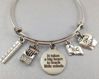 Teacher Jewelry, Teacher Charm Bracelet, Teacher Christmas Gift, Teacher Appreciation Gift, School Bracelet, Teacher Bangle