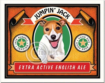 11x14 Jack Russell Art - Jumpin' Jack - Extra Active English Ale - Art print by Krista Brooks
