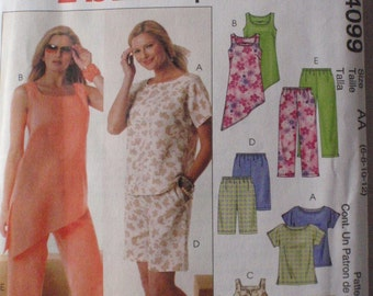 SALE - Women's Sewing Pattern -  Top, Tunics, Shorts and Capri Pants - McCall's 4099 - Sizes 6-8-10-12 Bust 30 1/2 - 34, Uncut