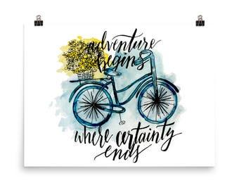 Adventure Begins Bicycle Watercolor Print