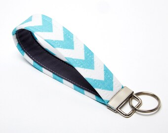 Chevron Key Fob, Fabric Key Chain, Handmade Wristlet Strap - Aqua Blue and Grey