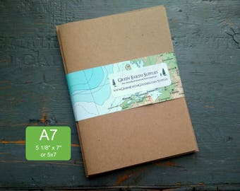 """25 Kraft A7 or 5x7 Folded Cards & Envelopes, 100% recycled greeting cards, 5 1/8 x 7"""" or 5 x 7"""", 65lb-105lb. cover, light or kraft brown"""