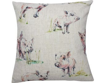 Pig Countryside Animal Print Cushion Cover