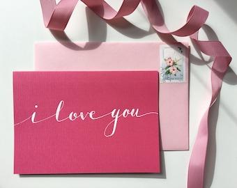 I love you modern calligraphy greeting card