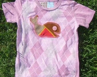 PATCHY WHALE Toddler 2T Vintage Applique Tee • Argyle Jersey Pink Knit • Handmade Sea Creature T-Shirt OOAK