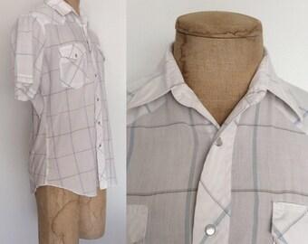 1970's Lee White & Blue Plaid Cotton Pearl Snap Button Up Men's Medium by Maeberry Vintage