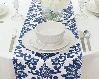 Choose your Table Runner, Navy Blue Table Runner - Blue Wedding Linens - Blue Table Topper - Cecilia Navy Blue Table Runner