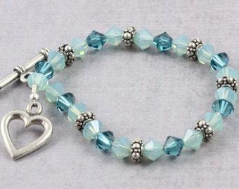 Sea Breeze Bracelet Blue Opal Bracelet Teal Bracelet Blue Wedding Jewelry Blue Prom Jewelry Ocean Blue Crystal Bracelet Bridesmaid Bracelet