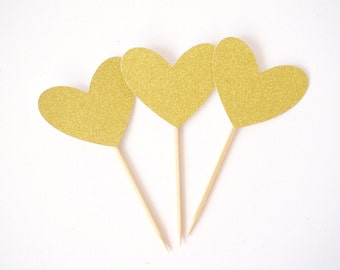 Gold Glitter Heart Cupcake Toppers, Valentines Day , Valentines Day Decorations - Set of 12