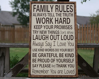 Family Rules Framed Wooden Sign, Subway Art Sign, Typography Sign, Handcrafted Sign, Home Decor