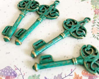 Handpainted Verdigris Patina Vintage Style Ornate Key Metal Charms (18051) -45x17mm