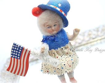 Patriotic Bear Needle Felted Doll Anthropomorphic Art Doll German Doll Parts Dollhouse Doll Lorelie Kay Original