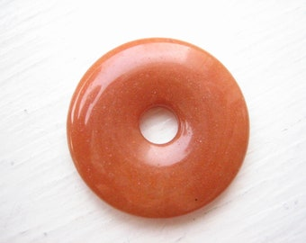 Red agate donut pendant, 30mm donut, 30mm gemstone donut, orange gemstone, soothing stone, pocket stone, worry stone, semi precious