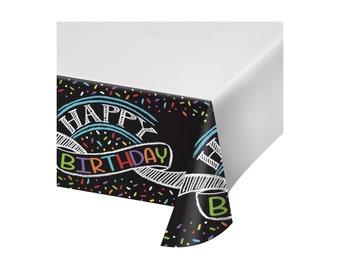 Chalk Birthday Plastic Tablecloth Cover, black and white birthday, Habby birthday decoration