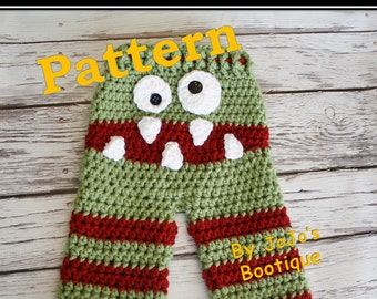 PATTERN - Crochet Monster Baby Pants PATTERN - Baby Monster Pants - PDF Sock Monster Pants - Baby Pants with Tie String - by JoJo's Bootique