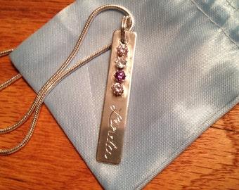 Custom Engraved Prongset Gemstone Pendant in Fine Silver