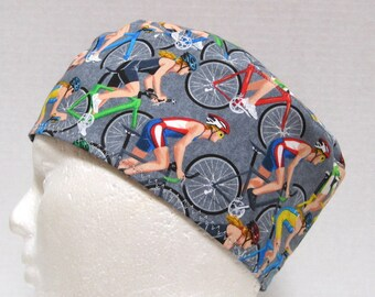 Mens Scrub Hat, Surgical Cap, Chemo Hat or Skull Cap Bicycling on Grey