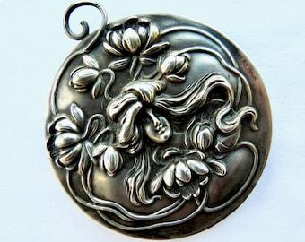 Art Nouveau Silver Beveled Mirror Pendant
