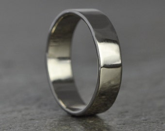 White Gold Mens Ring, 18K White Gold Hand Forged Big Mens 5mm Wedding Band or Ring, Sea Babe Jewelry